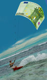 Surfing man & Euro as kite, sail. Confident surfing man with the 100 Euro, money as kite (sail) on the blue lagoon, speed, flashes, waves. The blue sky area Stock Image