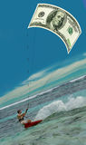 Surfing man & US Dollar as kite, sail,. Confident surfing man with the 100 US Dollars, money as kite (sail) on the blue lagone, speed, flashes, waves Royalty Free Stock Image