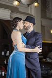 Confident Tango Dancers Embracing In Cafe Royalty Free Stock Photography