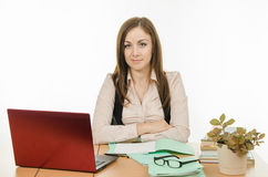 Confident teacher at your desk Royalty Free Stock Photography