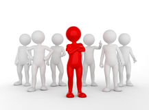 Confident team leader concept. Toon man with his army of people. 3D illustration Royalty Free Stock Photography