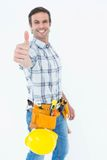 Confident technician gesturing thumbs up Stock Photo