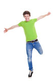 Confident teen arms outstretched Stock Photos
