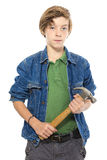 Confident teenage boy holding a hammer with both hands, isolated Stock Photo