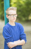 Confident teenager boy outdoor portrait Stock Photography