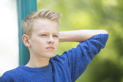 Confident teenager boy outdoor portrait Royalty Free Stock Image
