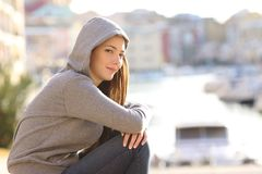 Free Confident Teenager Girl Looking At Camera In A Coast Town Royalty Free Stock Image - 128766986