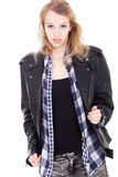 Confident teenager in leather Royalty Free Stock Photography