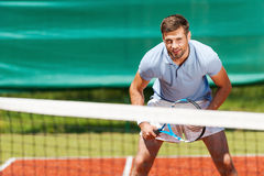 Confident tennis player. royalty free stock images