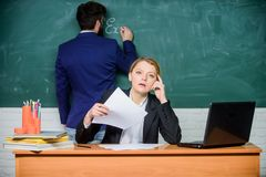 Confident in their successful future. paper work. office life. teacher and student on exam. back to school. formal royalty free stock photography