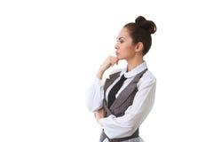 Confident thinking Businesswoman Isolated on White Royalty Free Stock Photos