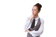 Confident thinking Businesswoman Isolated on White Royalty Free Stock Photography