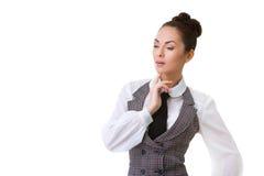 Confident thinking Businesswoman Isolated on White Stock Photo