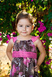 Confident Toddler Girl Pink and Brown Dress Royalty Free Stock Images