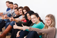 Confident University Students Sitting In A Row Royalty Free Stock Photo