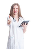 Confident and up to date female doctor Royalty Free Stock Photo