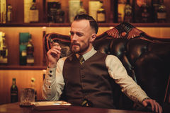 Confident upper class man smoking cigar in gentlemen`s club.  Stock Image