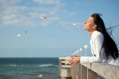 Confident Wind Sea Coast Woman Stock Image