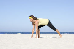Confident woman active retirement beach sport Royalty Free Stock Photography