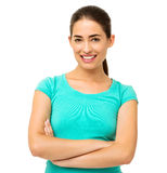 Confident Woman Against White Background Stock Image