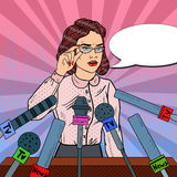 Confident Woman Answering Questions on Press Conference. Mass Media Interview. Pop Art illustration Stock Photo