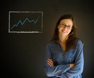 Confident woman with arms crossed against a blackboard background Royalty Free Stock Photos