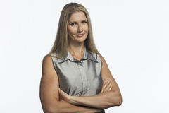 Confident woman with arms crossed, horizontal Royalty Free Stock Photo