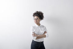 Confident woman with arms folded. Copy space royalty free stock images