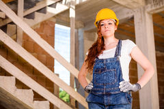 Confident Woman Bricklayer Stock Image