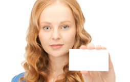Confident woman with business card Stock Photos