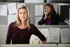 Confident Woman Employee. Confident Caucasian woman employee standing in her cubicle Royalty Free Stock Photos