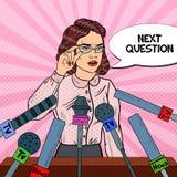 Confident Woman Giving Press Conference. Mass Media Interview. Pop Art illustration. Confident Woman Giving Press Conference. Mass Media Interview. Pop Art vector illustration