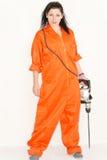 Confident woman holding a cordless drill stock photos