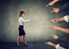 Free Confident Woman Keeping Hands In Stop Gesture, Trying To Defend Herself Royalty Free Stock Photo - 128868045