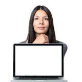 Confident Woman with Laptop Facing the Camera Royalty Free Stock Photos