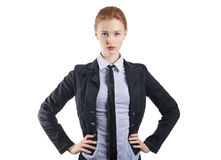 Confident woman leader. Confident woman in black jacket Head stock photos