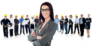 Confident woman leading a business team Stock Images