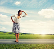 Confident woman looking into the distance Royalty Free Stock Images