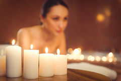 Confident woman resting at wellness center Royalty Free Stock Images