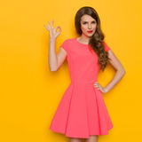 Confident Woman Showing Ok Hand Sign Stock Images