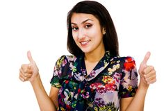 Confident woman showing thumbs-up Royalty Free Stock Image