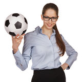Confident woman with a soccer Ball Stock Photo