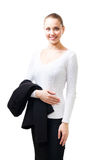 Confident woman stand with her jacket Stock Image