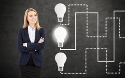 Confident woman and three light bulbs. Portrait of a confident blond woman wearing a black suit and standing near a blackboard with three light bulbs on it Royalty Free Stock Photo