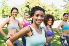 Confident women exercising in park Royalty Free Stock Image