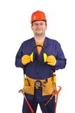 Confident worker in ear muffs and glasses. Stock Images