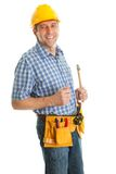 Confident worker with hammer Royalty Free Stock Image