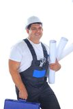 Confident worker with plans Royalty Free Stock Image