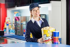 Confident Worker With Popcorn And Drink At Royalty Free Stock Photo