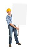 Confident worker presenting empty board. Isolated on white Stock Photography
